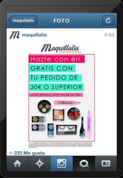 Captura de pantalla del Instagram de Maquillalia