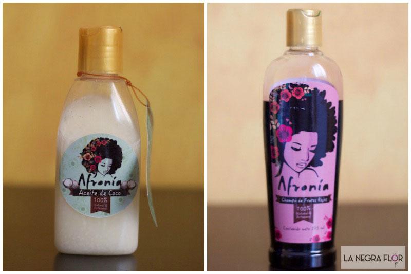 Aceite de coco y champú de frutos rojos de Afronia.