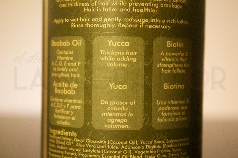 Ingredientes del champú Yucca & Baobab Thickening de Shea Moisture.